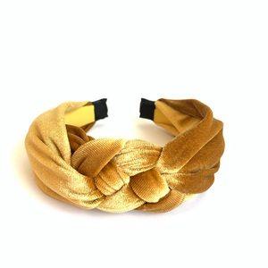 Golden Tan Velvet Front Braid Headband